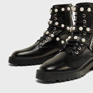 Zara Leather Faux Pearls Combat Boots